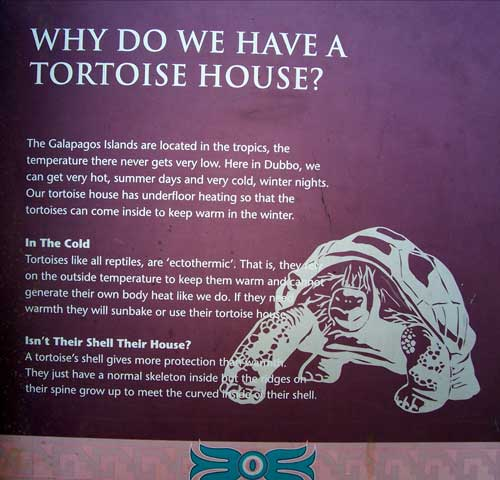 The sign at the tortoise house at Western Plains Zoo in Australia